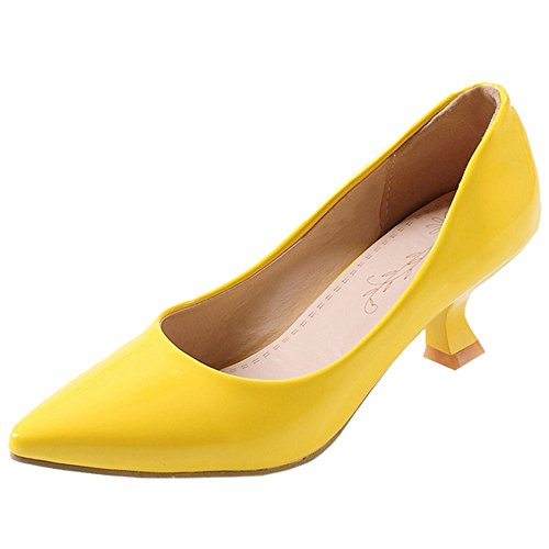 COOLCEPT Damen Mode-Event Comma Kitten Heel Basic Work Geschlossene Pumps (33 EU, Yellow)