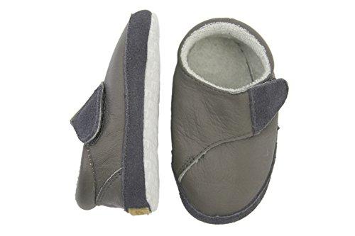 Melton Baby Jungen Leder-Krabbelschuhe-Cross Velcro Krabbel-& Hausschuhe Grau (Dark Grey150)