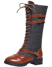 17e1e379b Logobeing Zapatos de Mujer Denim Botas Altas de Vaquero Romano de Mujer  Botas Largas Militar Tacones