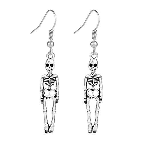 Amosfun Kreative Schädel Ohrringe Ohr Tropfen Schmuck Halloween Kostüme Halloween Geschenke für Freunde Männer Frauen