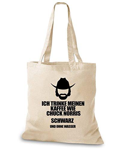StyloBags Jutebeutel / Tasche Ich trinke meinen Kaffee wie Chuck Norris - schwarz ohne Wasser Natur