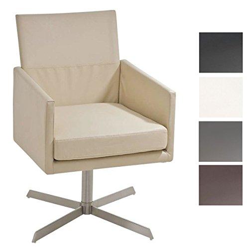CLP stilvoller Edelstahl Clubsessel / Lounge-Sessel CUBIC - creme - aus bis zu 4 Farben wählen