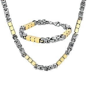 Beydodo Edelstahl Armband Halskette Set Herren Rechteck Fahrradkette Panzerkette Herrenkette Herrenarmband Schmuckset Silber Gold