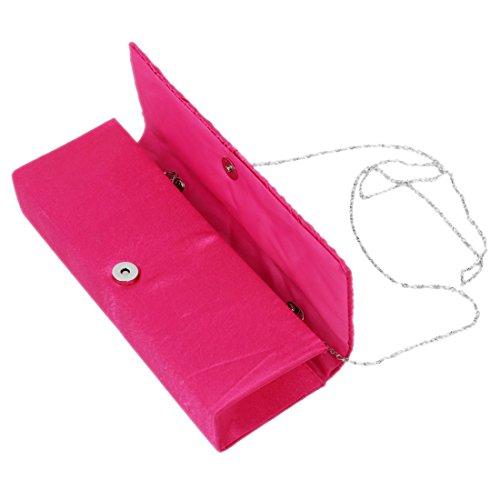 SODIAL(R) Rosa Rosso NUOVA DONNE DEL RASO DIAMANTE SIGNORE PLISSETTATO da sposa da sposa PROM borsa pochette Rose Red