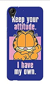 HTC Desire 728 Black Hard Printed Case Cover by HACHI - Garfield Fans design