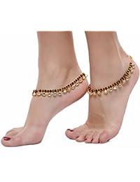 Gold Plated Kundan Studded Anklets Payal For Girls & Women By Dipali - B07B8J56LN