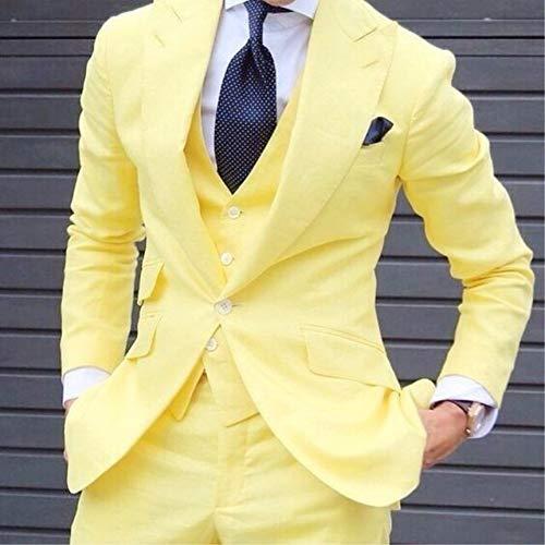 GFRBJK Modische gelbe Männer Skinny Custom Suits Grooming Tuxedo Suits Herren Blazer Prom Street Suits Set Jacke Weste Hose , Elfenbein , M -