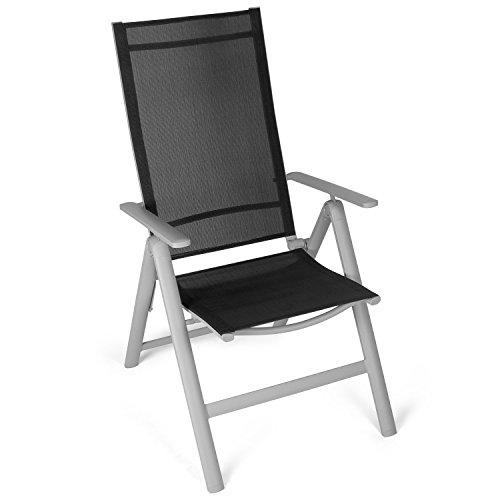 Vanage sedia a sdraio pieghevole con schienale reclinabile e braccioli ideale per giardino, balcone o spiaggia - nero