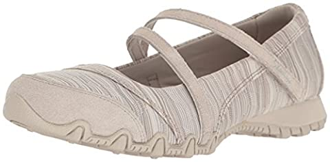 Skechers Women's Bikers-Ripples Mary Jane Flat, Taupe Knit, 7.5 M US