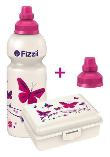 Fizzii Set Trinkflasche 600ml + Lunchbox inkl. Obst-/ Gemüsefach (schadstofffrei, spülmaschinenfest, Motiv: Schmetterling)