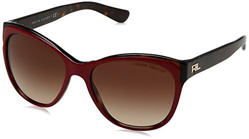 Ralph lauren 0rl81563213, occhiali da sole donna, rosso (top red/dark havana/gradientbrown), 57