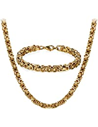 JewelryWe Jewellery Stainless Steel Chains Set of Necklaces and Bracelets for Men Gold, Golden Bracelets 8 mm Wide and 21.5 cm for Bracelet, 22/24/26 inches for Necklace
