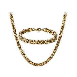 JewelryWe Schmuck Edelstahl Ketten Set von Halsketten und Armketten für Herren Gold golden Armbändern 8mm breit und 21,5 cm für Armband, 22/24/26 Zoll für Halskette