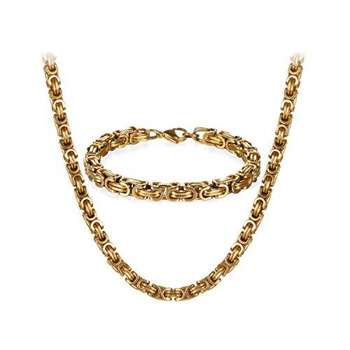 JewelryWe Schmuck Edelstahl Ketten Set von Halsketten und Armketten für Herren Gold golden Armbändern 8mm breit und 21,5 cm für Armband, 26 Zoll für Halskette