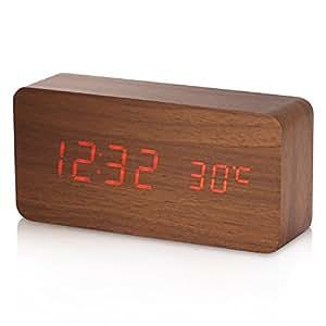 holz wecker yokkao digital rechteck wecker led display uhr mit wecker soundsteuerung temperatur. Black Bedroom Furniture Sets. Home Design Ideas