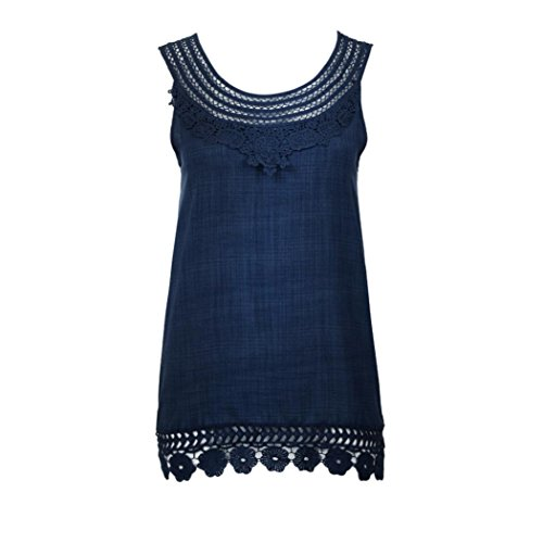 Kobay Women Pure Color Lace Vest Tops,Ladies Plus Size O-Neck Sleeveless Loose T-Shirt Blouse