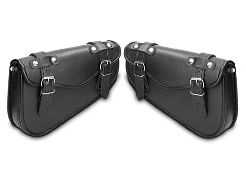 Price comparison product image Pair of 2 double side bags made of real leather triangular carrying tools for right and left side frames for motorcycles Harley Davidson Street Glide (FLHX) from 2006 to 2018 Street Gide Special Approach FLHXS from 2015 to 2016 V-Rode Musde (VRSCA/V-ROW) from 2001