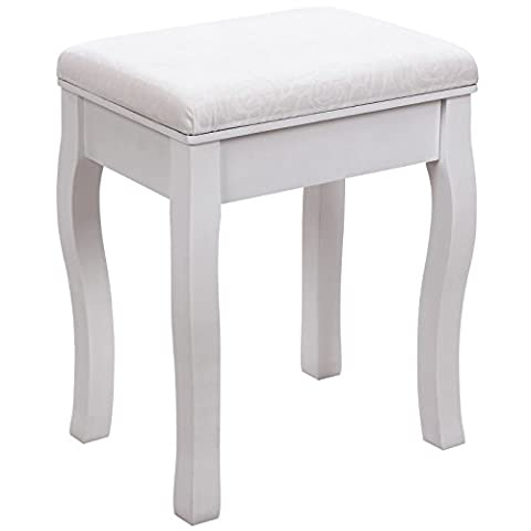 Songmics white Dressing Table Stool cream cushion padded chair
