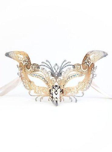 Colombina Gatta de metallo oro argento - Venezianische Metallmaske (Commedia Dell'arte Colombina Kostüm)
