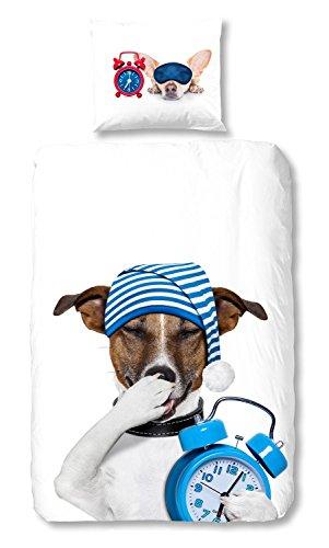 Good Morning Bettwäsche Set 2049 Sleepy Dogs White Hunde Tiermotiv Renforcé , Größe:135x200 cm + 80x80 cm