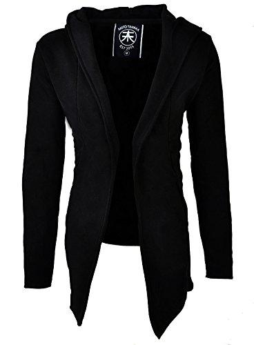 Akito Tanaka Herren Sweatjacke Jacke Weste Sweat Long MALE Sweater mit Kapuze schwarz, Grösse: M