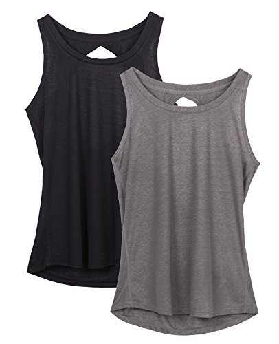 icyzone Damen Yoga Sport Tank Top - Rückenfrei Fitness Shirt Oberteil ärmellos Training Tops (Black/Grey,M)