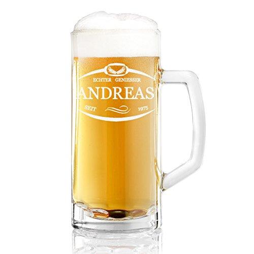 Bierkrug mit Gravur eines Namens und Jahreszahl – Bierseidel Motiv Umrandung mit Ähren 0,5l