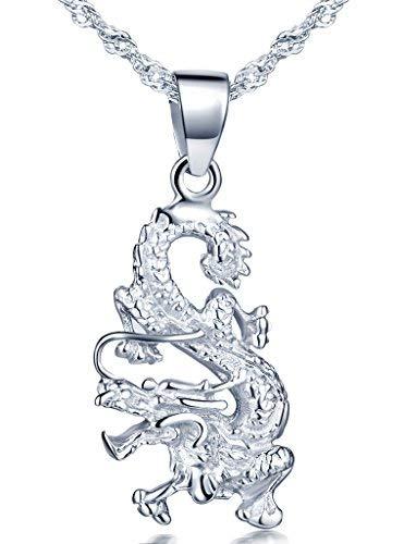 Infinite U da donna in argento Sterling 925, con ciondolo a forma di drago...