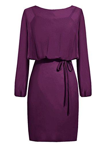 Dresstells, robe courte de demoiselle d'honneur mousseline manches longues, robe de mère de mariée Raisin
