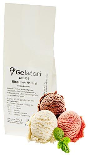 Hobbybäcker Eispulver Neutral ► Für lecker cremiges Eis, wie beim Italiener, selbstgemachtes Eis, Eismaschinentauglich, 500g