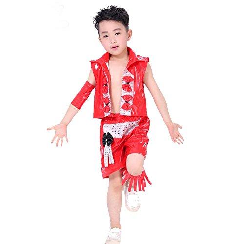 Red Hop Tanz Kostüm Hip - Wgwioo Kinder Modernes Jazz Tanz Kostüm Junge Bühne Pailletten Hip Hop Performance Studenten Chor Gruppe Team School Play Party Outfit, Red, 110Cm