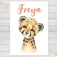 Baby Cheetah, Cute Personalised Animal Print for Kids, A4 or A3