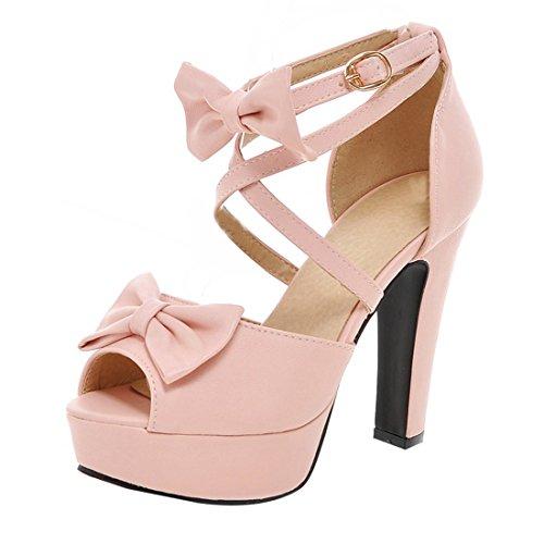 Süße High Heel (Damen Blockabsatz Peep Toe High Heels Plateau Knöchelriemchen Pumps mit Schleife und Schnalle Party Schuhe)
