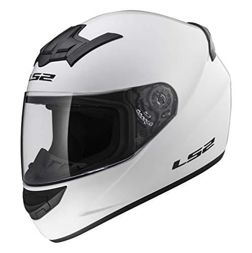 Caschi moto: NEW LS2 FF352 ROOKIE Solid moto Oro ACU caschi integrali, casco Sport, caschi da turismo (Bianco) (XL)