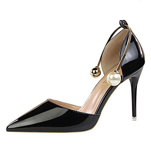 z&dw Montrer fines fines avec de hauts talons en cuir verni peu profonde bouche creux pointu avec des sandales Noir
