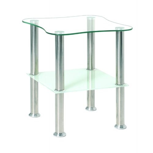 Haku Möbel 33310 Table Basse d'Appoint Tôle Inox/Verre Trempé Optique Inox-Blanc