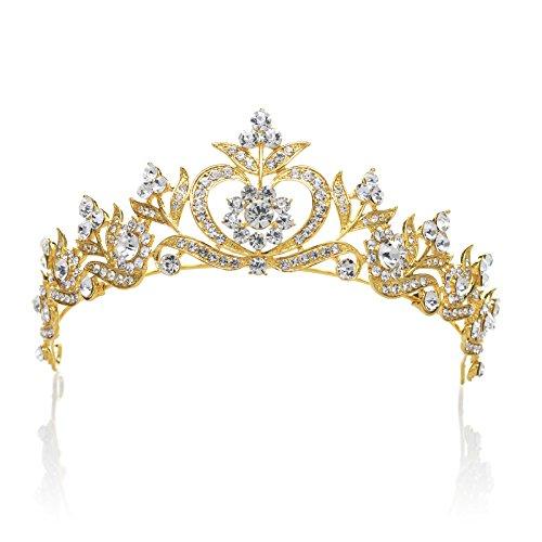 SWEETV Espumoso Rhinestone Corona Princesa Tiara Diadema Boda Fiesta Prom Venda Nupcial Tocado, Dorado