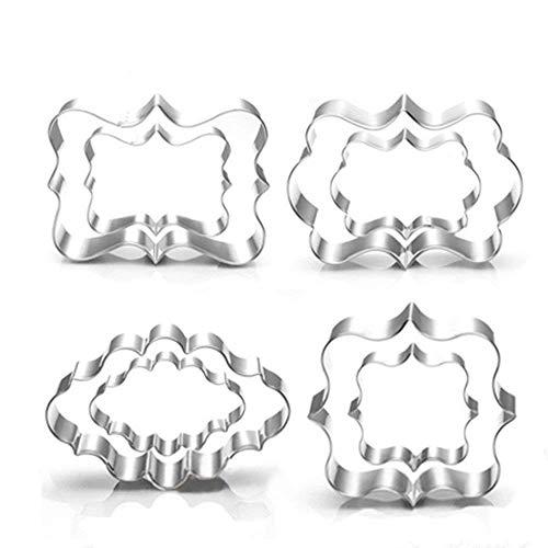 Ausstechformen-Set - 8-teilig, quadratisch, oval, rechteckig, Fototafeln, Rahmen aus Edelstahl (verschiedene Größen)