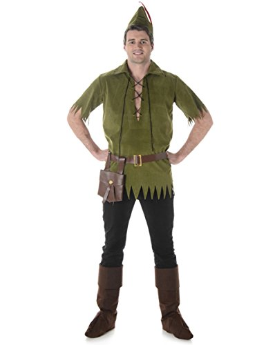 Neverland Lost Boy Mens Fancy Dress Peter Pan Fairytale Book Day Adults (Toy Belt Boy Kostüm)