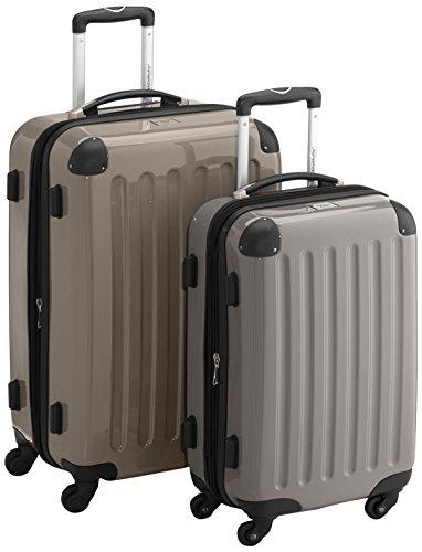 HAUPTSTADTKOFFER - Alex - 2er Koffer-Set Hartschale glänzend, TSA, 65 cm + 55 cm, 74 Liter + 42 Liter, Champagner-Graphit