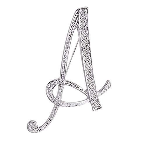 IMJONO Femme vêtements Accessoires Pin 1PC Cristal 26 Lettres Anglaises Broche Diamant Couple Couple Souvenir Bijoux Amour Cadeaux