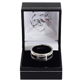 Arsenal FC Edelstahl Ring mit Inlay und Club Wappen (Medium) (Silber/Schwarz)