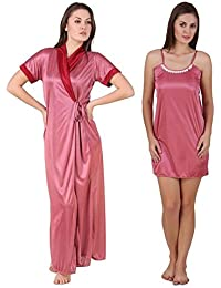 Freely Multi-color Satin Babydoll nighty & Robe set - Pack of 2