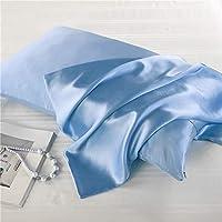 FLCA Taie d'oreiller 100 % soie de mûrier pour cheveux et peau des deux côtés en soie de mûrier (bleu ciel, standard 50…