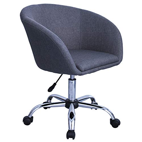 Duhome Elegant Lifestyle Swivel Chair on Casters Desk Chair Grey Fabric (Linen) Height-Adjustable Swivel Stool with Wheels and Backrest Colour Selection WY-440F