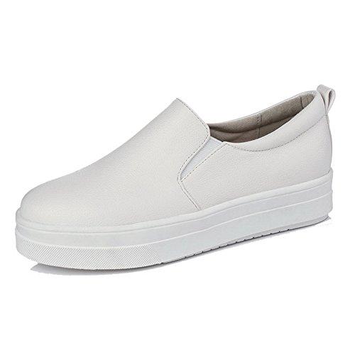 AllhqFashion Femme Tire Pu Cuir Rond à Talon Bas Couleur Unie Chaussures Légeres Blanc
