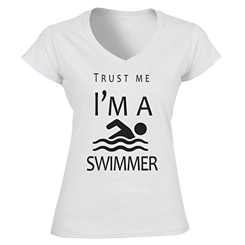 Trust Me I'm A Swimmer Damen V-Neck Weiß