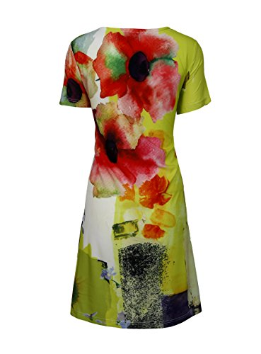Robe manches courtes Ladies Avec Multi Color Motif Print & Strass Multicolore