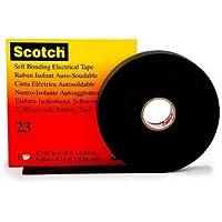 3M HT002001309 Scotch 23 Cinta Eléctrica Autosoldable de Goma, 19 mm x 9.15 m, 1 Rollo, Negro