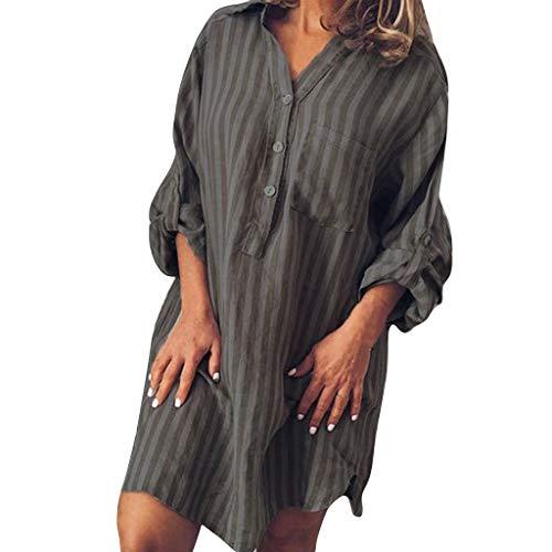 Damen Langarm V-Ausschnitt Elegant Lang Blusenkleid Hemdkleid Shirt Kleid Oberteil Kleid Maxikleid Piebo Frauen Streifen Bikini Cover Up Strandponcho Sommer Bademode Vertuschen Shirt Strandkleid